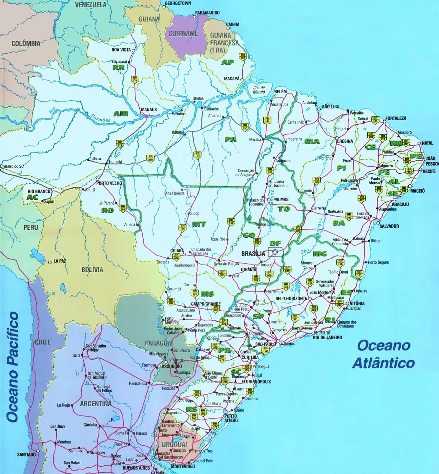 Brazílie Mapy, Mapy Brazílie, Mapa Brazílie